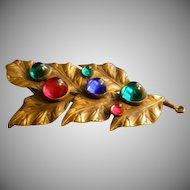Vintage Ben Meltzer Brass & Colored Cabochon Dress Clip