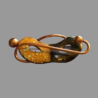 """""""Matisse"""" Copper & Enameled 'Theatrical Mask' Shaped Brooch"""