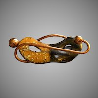 """Matisse"" Copper & Enameled 'Theatrical Mask' Shaped Brooch"