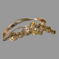 """Staret"" Silver-Tone & Diamond Rhinestone 'Stem of Blossoms' Brooch"
