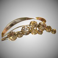 """Staret"" Silver-Tone & Diamond Rhinestone 'Stem of Blossoms' Brooch"