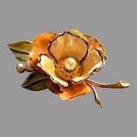 Coro Vendome Gold-Tone Enameled Floral, Rhinestone & Pearl Decorated Brooch