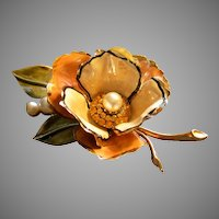 Coro Vendome Gold-Tone Enameled Floral, Rhinestone & Pearl Decorated Brooch