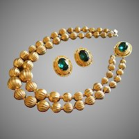 Florenza Gold-Tone and Emerald Rhinestone Necklace & Clip Earrings Set