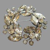 Weiss Wreath-Shape Silver-Tone Brooch w/Diamond Rhinestones