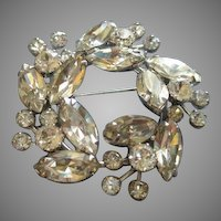 Weiss Wreath-Shape Silver-Tone Brooch w/Diamond Rhinestones