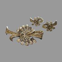 Vintage Sterling Silver & Diamond Rhinestone Tied Bow Brooch & Screw-Back Earrings Set
