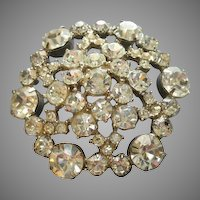 Vintage Silver-Tone and Diamond Rhinestone Hexigonal Brooch