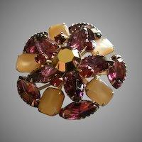 Juliana (DeLizza & Elster) Gold-Tone, Colored Rhinestones & MOP Brooch
