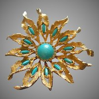 DeNicola Gold-Tone, Diamond Rhinestone & Faux Turquoise Stylized 'Sun Burst' Brooch