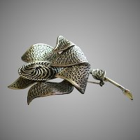 Coro Vendome Silver-Tone Filigree Floral Brooch
