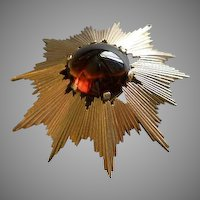 Trifari Gold-Tone & Large Amber Cabochon Sun-Ray Brooch