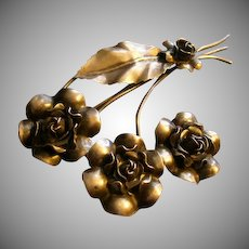 Vintage Sterling Silver Brooch w/Rose Blossoms Motif
