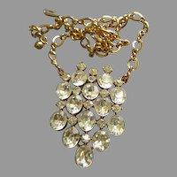 Coro Vendome Gold-Tone Diamond Rhinestone Pendant Necklace