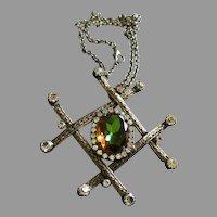 Juliana (DeLizza & Elster) Antique Silver-Tone, Diamond & Watermelon Rhinestone Pendant Necklace