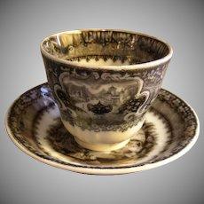 "Podmore, Walker & Co. Mulberry Black Transfer ""Washington Vase"" Pattern Handleless Cup & Saucer"