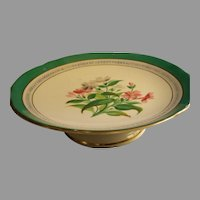 Old Paris China Compote w/Botanical Flowers Motif