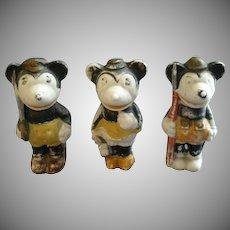 "Set of 3 Vintage Walt Disney ""Minnie & Mickey Mouse"" Bisque Figurines"