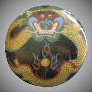 Chinese Black Cloisonne Round Covered Box w/Dragon Motif