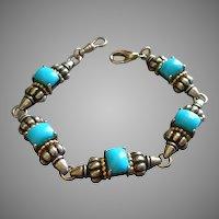 Hallmarked Clyde Duneier, Inc.  Sterling Silver, 14K Gold & Faux Turquoise  Link Bracelet