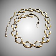 Vintage Sterling Silver Oval LInk Choker Necklace w/Extender