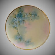 D'Arcy Studio Hand Painted Cabinet Plate w/Forget-Me-Not Decoration