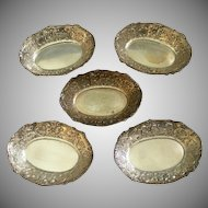 Set of 5 Marshall Field & Co. Sterling Silver Repousse Motif Individual Nut Cups