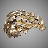 """Staret"" Silver-Tone & Diamond Rhinestones 'Cluster of Grapes' Brooch"