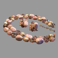 Coro Vendome Cut Crystals, Glass Beads, Faux Pearls & Stones Necklace & Earrings Demi-Parure