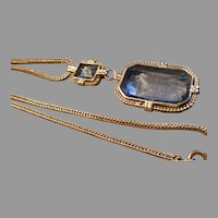 Vintage Germany Silver-Tone & Faux Sapphire Pendant Necklace
