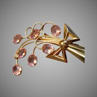 Vintage Gold-Tone & Faux Pink Sapphire Floral Brooch
