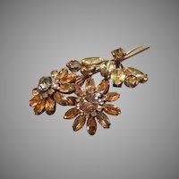 Coro Vendome Silver-Tone, Aurora Borealis, Green Tourmaline & Diamond Rhinestones Floral Brooch