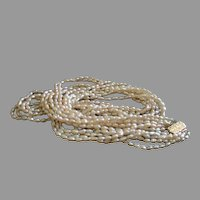 Five-Strand Faux Freshwater Pearl Necklace w/14kg Clasp