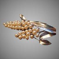 """Trifari"" Silver-Tone & Faux Pearl Floral Motif Brooch"