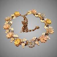 Art or Mode-Art Gold-Tone, Enamel, Plastic & Rhinestone Floral Necklace