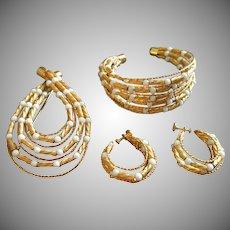 Coro Vendome Gold-Tone Beads & Wire w/White Beads Bracelet, Brooch & Earrings Parure