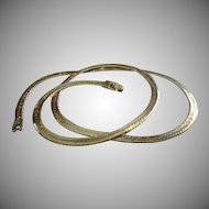 Vintage Sterling Silver Flat Chain Necklace - 24 Inches in Length
