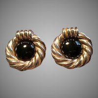 Israel Modernist Electroform Sterling Silver & Black Enamel Clip Earrings