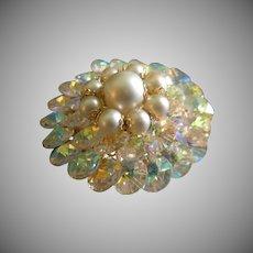 Coro Vendome Gold-Tone, Cut Crystals & Faux Pearls Brooch