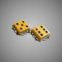 "Vintage Ivory ""Bakelite"" Clip-Style Dice Earrings Set"
