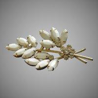 "Juliana (DeLizza & Elster) Gold-Tone, White Marquise & Diamond Rhinestones ""Floral"" Motif Brooch"