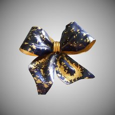 Coro Vendome Gold-Tone & Cobalt Blue Enameled 'Bow' Brooch