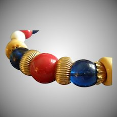 Coro Vendome Gold-Tone & Red, White, Blue, Yellow  Bead Collar Necklace