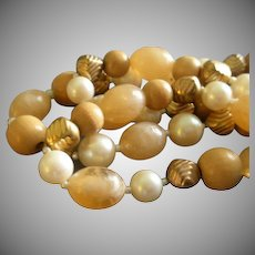 """Vintage """"Cadoro""""  Designer Antiques Gold-Tone, Faux Pearl, Swirl & Wood-Grained Beads Necklace"""
