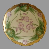 J.H. Stouffer Hand Painted Cabinet Plate w/Pink/Lavender Geranium Floral Motif