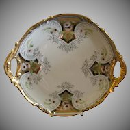 J.H. Stouffer Hand Painted Charger w/Daisy Floral Motif, Gold & Platinum Trim