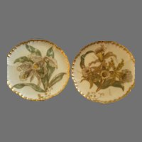 Pair of CFH/GDM Hand Painted Cabinet Plates w/Cattelya Orchid Floral Motif