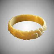 Vintage Soft Creamy Yellow Molded Floral Celluloid Bangle Bracelet