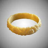 Vintage Soft Creamy Yellow Molded Floral Celluloid Bangle Bracelet