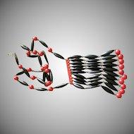 Vintage Red & Black 'Egyptian Bib Style' Bakelite Necklace